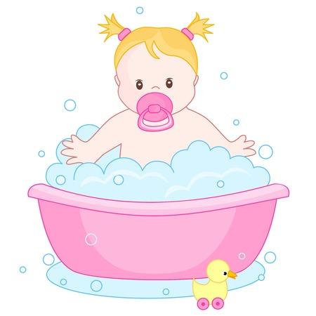 bath tub: An illustration of a cute little baby girl having  bath isolated on white background. child bubble bath Illustration