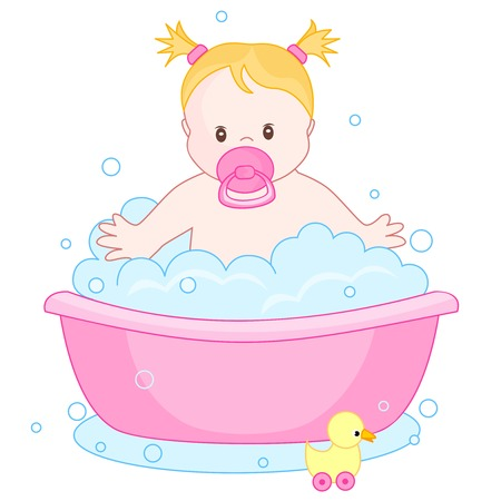 An illustration of a cute little baby girl having  bath isolated on white background. child bubble bath Illustration