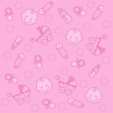 sweet baby girl: Sweet pink baby girl elements seamless pattern  wallpaper Illustration