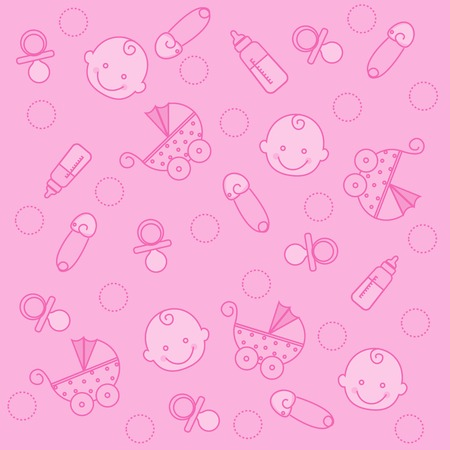 Cute Pink Baby Girl Seamless Pattern On Striped Background Royalty