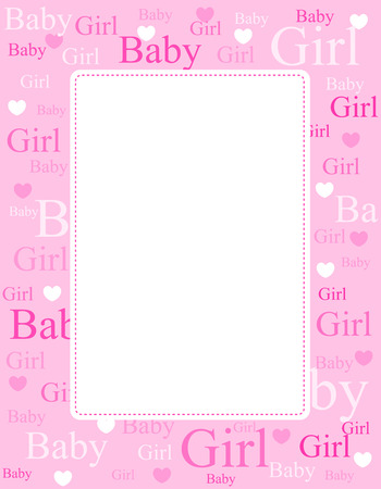 Cute pink frame  border with baby girl text and hearts