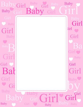nacimiento de bebe: Linda rosa marco  frontera con el texto ni�a y corazones