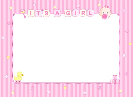Pink it's a girl baby arrival announcement card / party frame