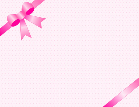 pink satin: Cute baby girl arrival card party invitation background with pink satin ribbon bow on corners
