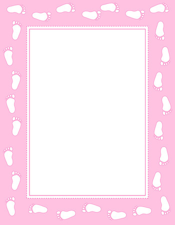 Baby girl footprints border  frame with empty space to add text