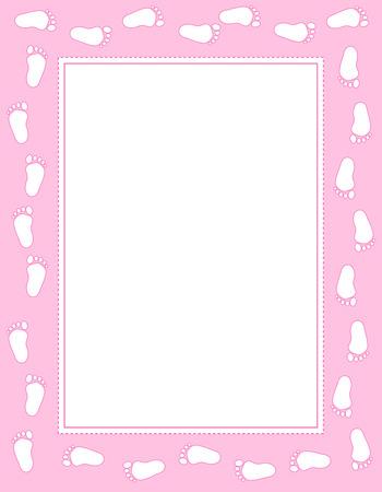Baby meisje voetafdrukken grens  frame met lege ruimte om tekst toe te voegen