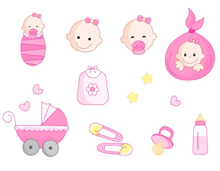 Cute baby girl icon collection including baby face, bib, carriage, safety pins, pacifier, feeding bottle isolated on white background. Vector