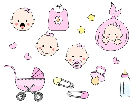 soother: Cute baby girl icon collection including baby face, bib, carriage, safety pins, pacifier, feeding bottle isolated on white background.