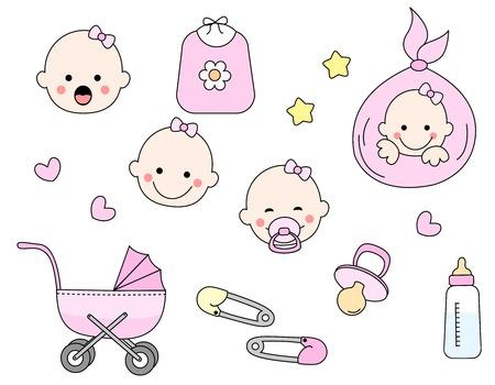 babero: Linda colección de iconos niña incluyendo la cara del bebé, babero, carro, pernos de seguridad, chupete, biberón aislado sobre fondo blanco. Vectores