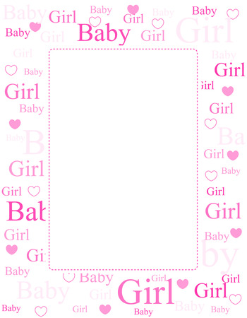arrive: Cute pink frame  border with baby girl text and hearts