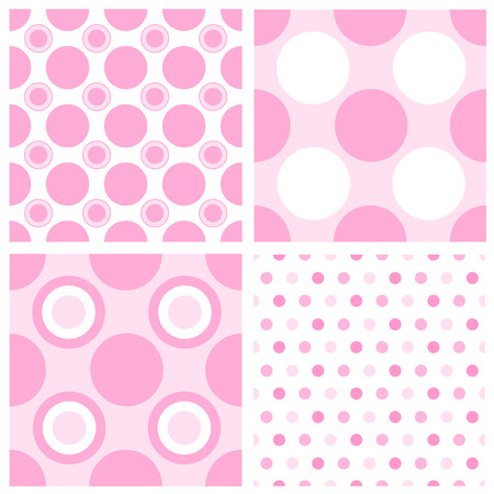 specially: Baby girl polka dot seamless patterns collection specially for baby arrival invitation and baby announcement cards. Illustration