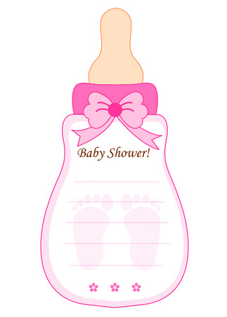 invitacion baby shower: Biber�n linda de la ducha del beb� plantilla en forma de tarjeta de invitaci�n en color rosa para las ni�as