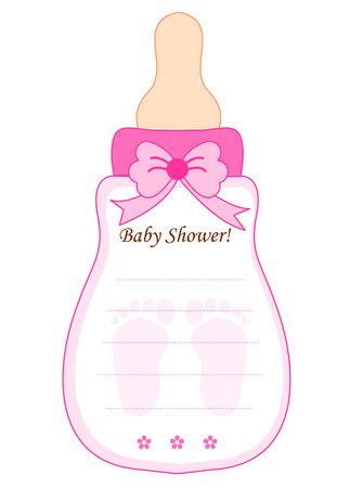 Niedlich Babyflasche geformt Babypartyeinladung Karte Vorlage in Rosa für Babys Standard-Bild - 38545429