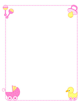 baby announcement card: Baby girl arrival announcement card frame with baby accessories