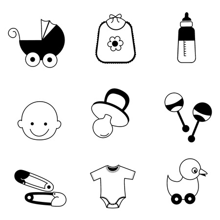 Black and white baby accessories web icon collection isolated on white Vector