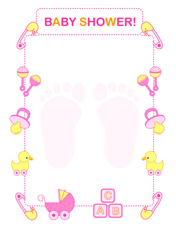 Illustration of a baby shower invitation card  border  frame for a girl Vector