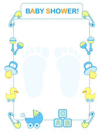 Illustration of a baby shower invitation card for boy. Baby arrival invitation frame  border Vector