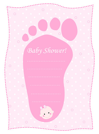 cute baby girls: Cute feet shaped baby shower invitation card template in pink for baby girls