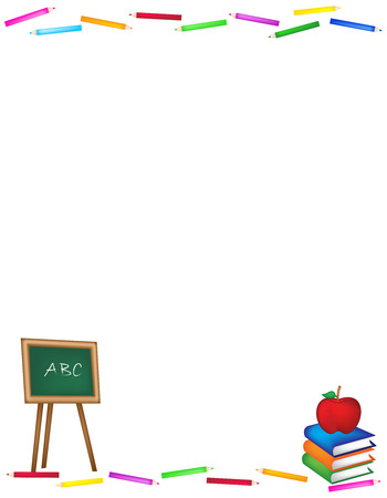 Back to school frame  web site background with black board and colorful color pencils