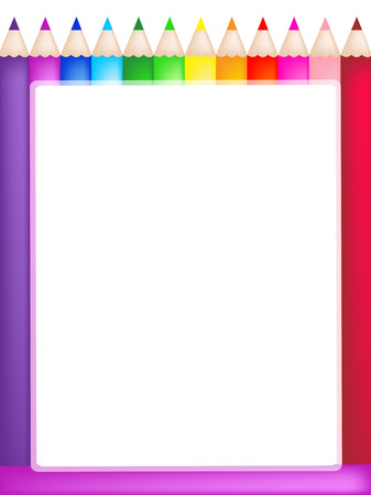 blank center: Frame of bright colored pencils with a blank center. Illustration