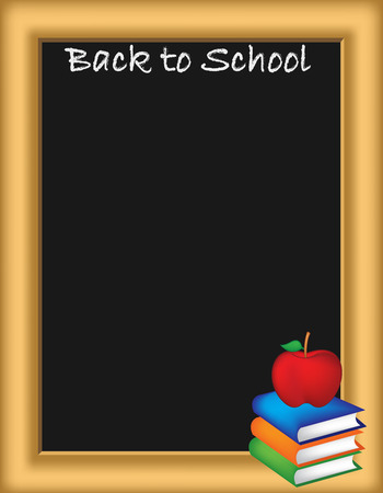apple border: A back to school illustration  border  with a blackboard, textbooks and an apple. Illustration