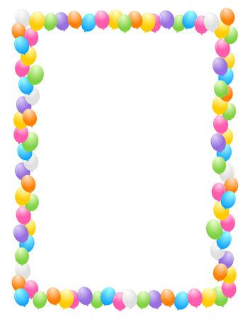 생일 카드 및 파티 배경 다채로운 풍선 테두리  프레임 그림