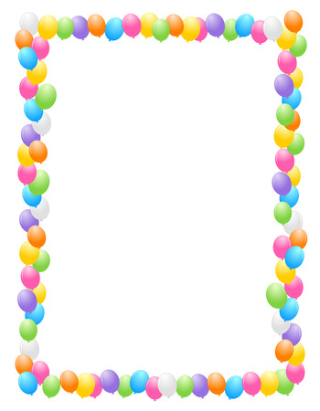 bright borders: Colorful balloons border  frame illustration for birthday cards and party backgrounds