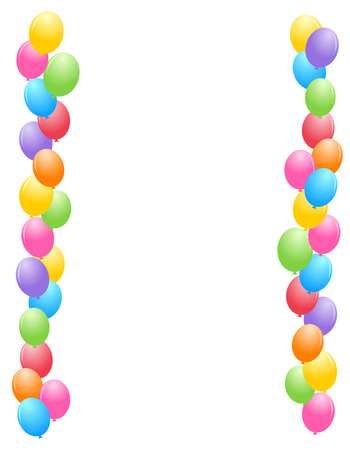 Colorful balloons border  frame illustration for birthday cards and party backgrounds