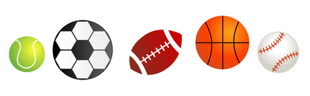 tennis balls: Five different sport balls isolated on white background. Balls divider Illustration