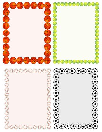 Sport balls border / frame set on white background.