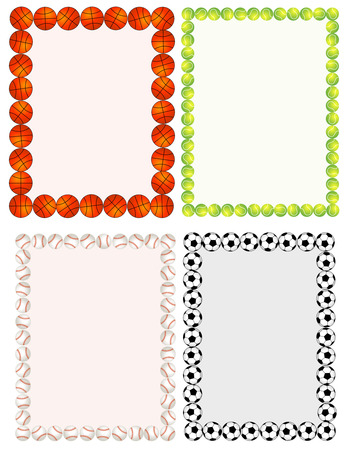 Sport balls border / frame set on white background.