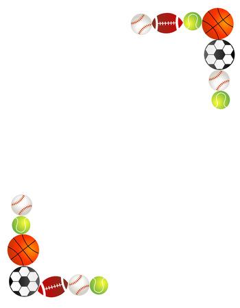 Five different sport balls border  frame on white background.