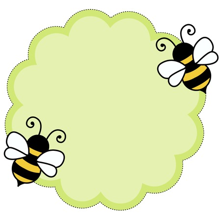 Cute bees flying around green frame isolated on white Illustration