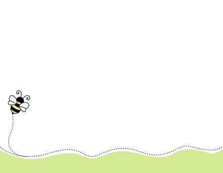 summer border: Cute bee background  footer Illustration