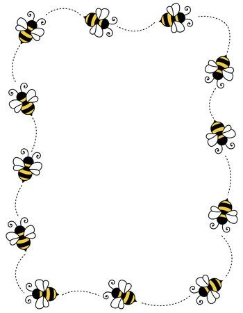 abeja caricatura: Abeja Frontera  marco en el fondo blanco con el espacio vacío