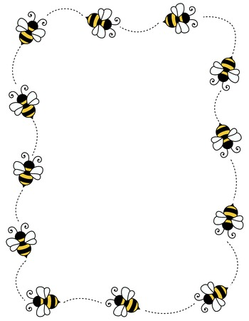 Bee border  frame on white background with empty space Ilustração