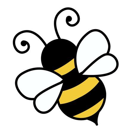 abeja caricatura: Pequeña abeja linda aislada en el fondo blanco Ilustración