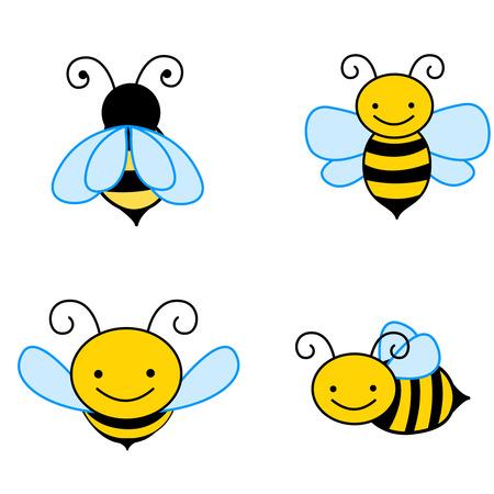 abeja reina: Colecci�n de abeja colorida im�genes predise�adas aislado sobre fondos blancos
