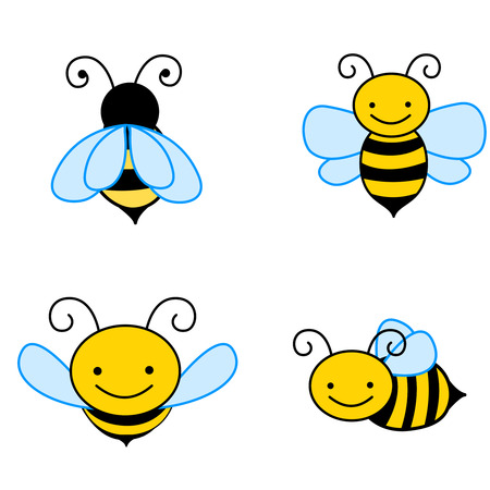 Collection of colorful bee cliparts isolated on white backgrounds Ilustração