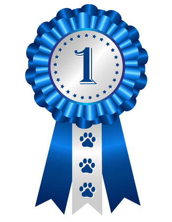 Dog competition winner silver / blue award ribbon rosette with no 1 on center