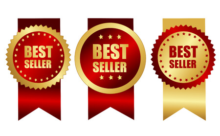 specially: Best seller award ribbons in elegant gold and red  maroon color specially for web site business promotion campaigns Illustration