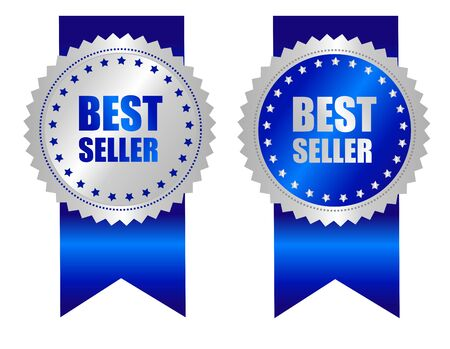 specially: Best seller award ribbon blue and silver mix design isolated on white. Specially for web business promotion