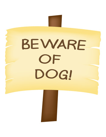 posted: Beware of Dog sign on a wooden post, isolated. Illustration