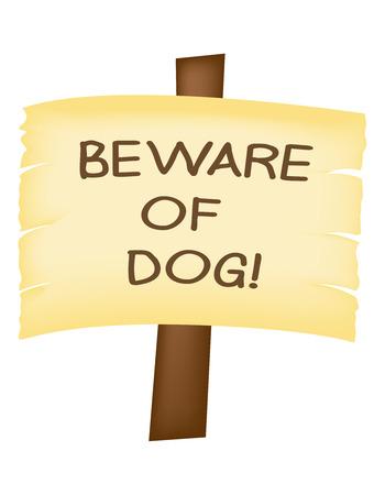 wooden post: Tenga cuidado con signo perro en un poste de madera, aislado. Vectores