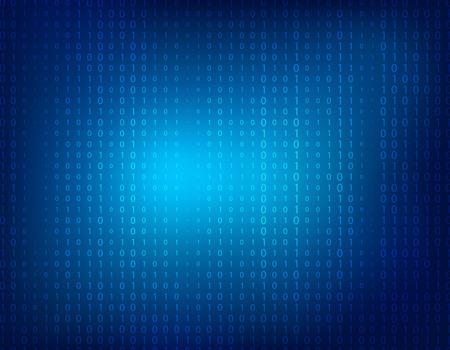 Bleu fond abstrait avec des uns et de zéros binaires faibles.