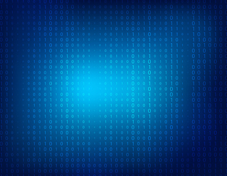 Blue abstract background with faint binary ones and zeros.