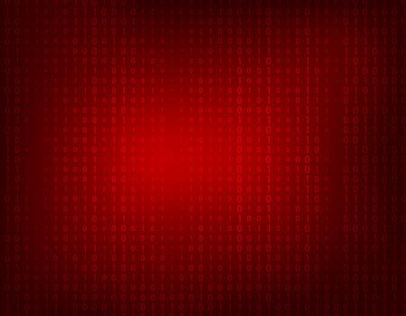 かすかなバイナリものとゼロの暗い赤の抽象的な背景。
