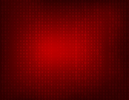 faint: Dark red abstract background with faint binary ones and zeros.