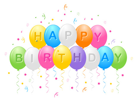 happy birthday text: Birthday greeting card with colorful balloons and confetti with happy birthday text