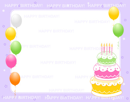 birth day: Colorful birthday card  invitation background with happy birthday text and balloons and a birth day cake